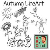 Fall Halloween and Autumn themed Line ArtByChad