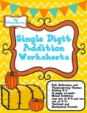 Fall, Halloween, and Thanksgiving Theme Single Digit Addition Worksheets