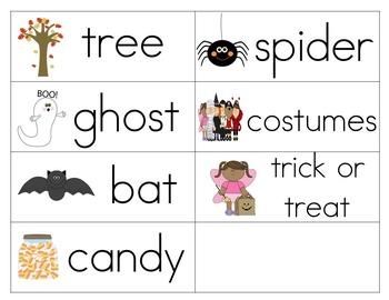 Fall/Halloween vocabulary cards (bilingual:English/Spanish)