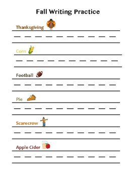 Fall Handwriting Practice