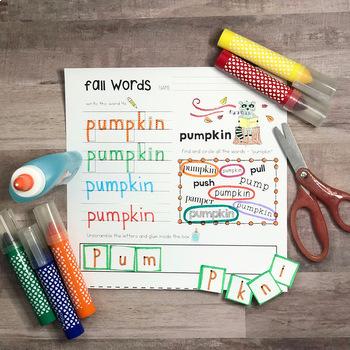 Fall Handwriting Practice Word Work for preschool, kindergarten, first grade