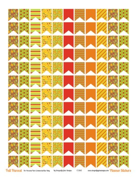 Fall Harvest 126 Small Flags Printable Planner Stickers