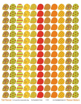 Fall Harvest 139 Small Teardrops Printable Planner Stickers