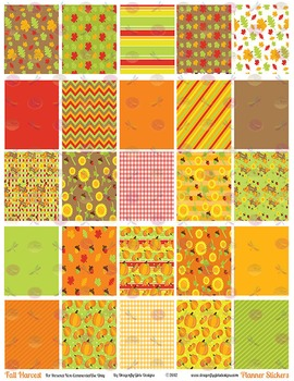 Fall Harvest 25 Squares Large Boxes Printable Planner Stickers