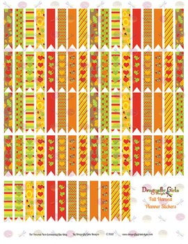 Fall Harvest 80 Long Flags Printable Planner Stickers