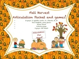 Fall Harvest Articulation Packet and Games!