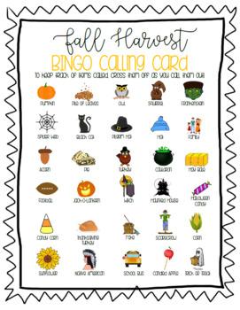 Fall Harvest Bingo