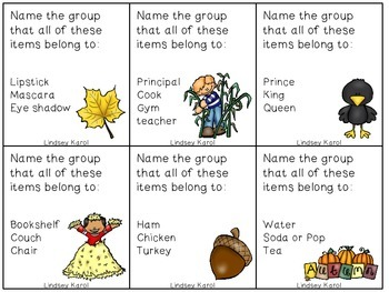 Fall Harvest Categories