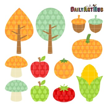 Fall Harvest Clip Art - Great for Art Class Projects!