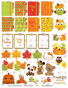 Fall Harvest Cuties, School and Holiday Printable Planner Stickers