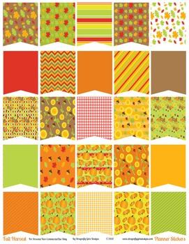 Fall Harvest Large Flags Printable Planner Stickers