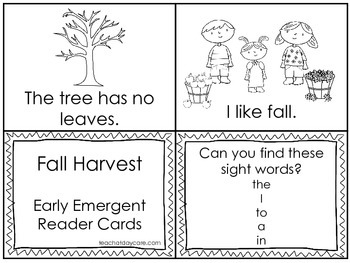 Fall Harvest Early Emergent Reader Reading Activity Cards.