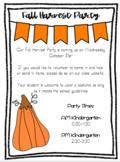 Fall Harvest Halloween Party Letter EDITABLE