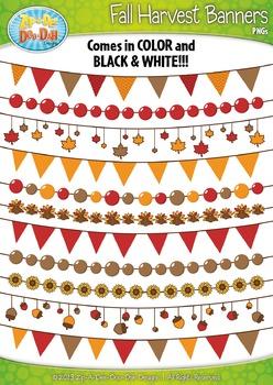 Fall Harvest Pendant Banners Clipart {Zip-A-Dee-Doo-Dah Designs}