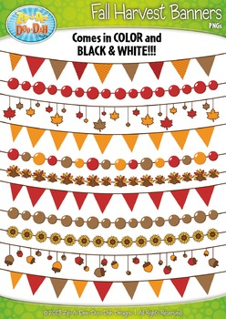 Fall Harvest Holiday Pendant Banners Clip Art Set — Includ
