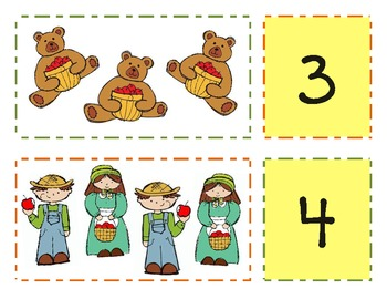 Fall Harvest Number Match & One-to-One Correspondence with Numbers 1-20