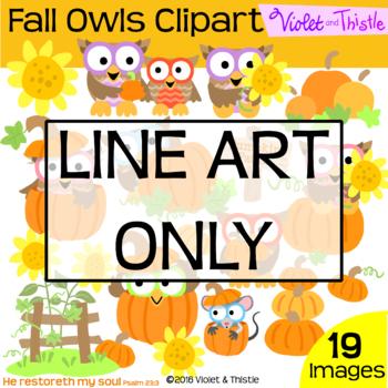 Fall Harvest Owls Line Art Pumpkin Sunflower Thanksgiving Clipart Clip Art