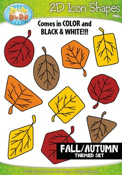 Fall Harvest Themed 2D Icon Shapes Clipart Set — Includes