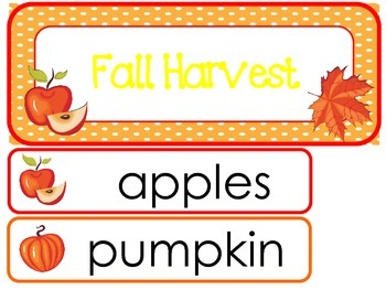 Fall Harvest Word Wall Weekly Theme Posters.