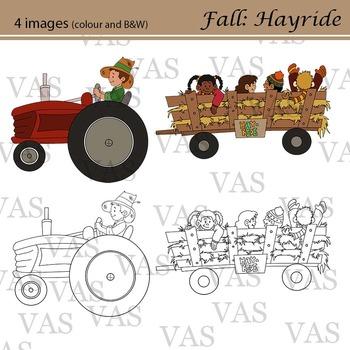 Fall Hayride Line Clip Art clipart