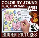 Fall Hidden Pictures Color by Sound for K, G, F, & SBLENDS