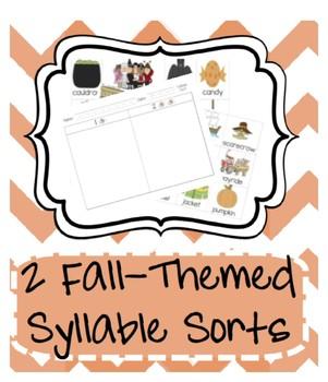 Fall Holiday Syllable Sort