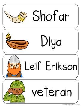 Fall Holidays Vocabulary Word Wall Cards plus Write & Wipe Version