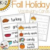 Fall Holidays Vocabulary Word Wall Cards plus Write & Wipe