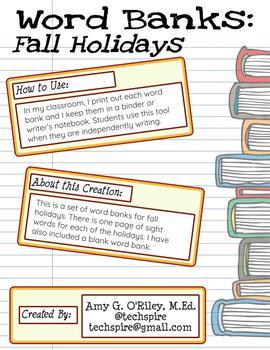 Fall Holidays Word Banks