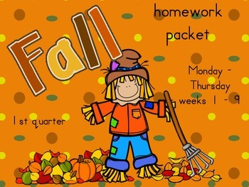 Homework Packet for 1st quarter (weeks 1-9)