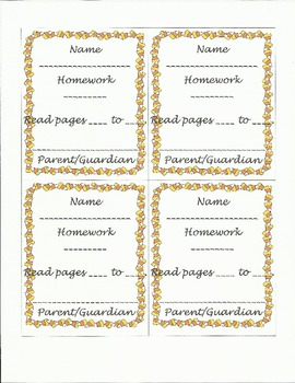 Fall Homework Tags with parent signature