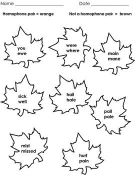 Autumn (Fall) Homophones Assessment (Owls, Leaves, Pumpkins, Acorns)