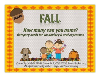 Fall ~ How Many Can You Name? Conversation & Oral Expression Cards {FREEBIE}