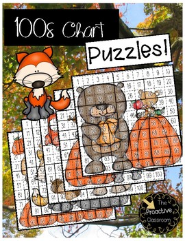 Fall Hundreds Chart Puzzles- Number Sense Activities on 100s Chart!