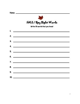 Fall I Spy Sight Words