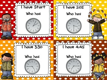 Fall I have Who Has Telling Time