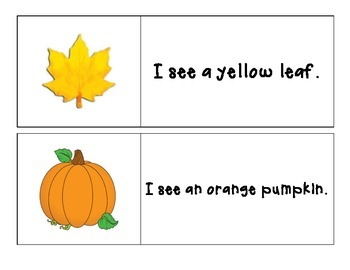 Fall - I see... Color Words - Pocket Chart Printable