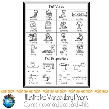 Fall Illustrated Vocabulary Sheets