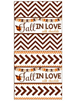 Fall In Love Candy Wrappers Favor Hand out Classroom Party Favor Printable