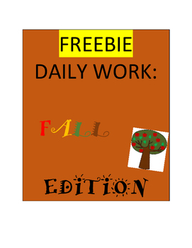 Fall Independent Daily Work FREEBIE