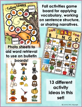 Preschool Pictured Language Activities  Fall Lotto Riddle Games