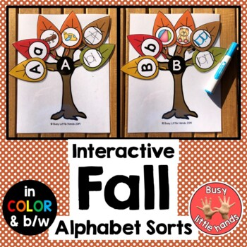 Fall Interactive Alphabet Sorts for Preschool, Special Education & Speech