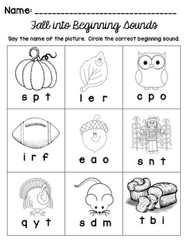 Fall Into Beginning Sounds