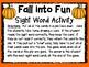 Fall Into Fun Sight Word Activity