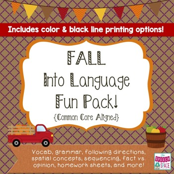 Fall Into Language Fun Pack - CC Aligned! - Color & Blackline
