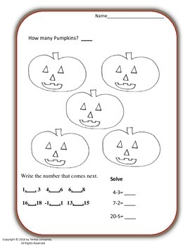 Halloween and Autumn Math Practice First Grade