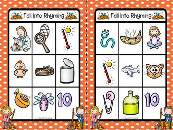 Fall Into Rhyming Bingo:  LOW PREP Fall Leaves Themed Bingo Cards