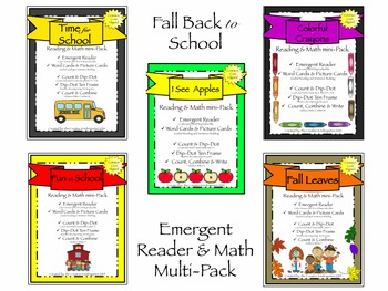Back to School Emergent Readers & Math Multi-Pack {Common