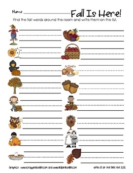 Fall Is Here!  A Read and Write the Room Activity
