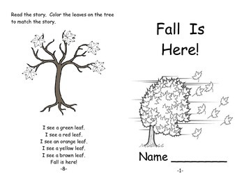 Fall Is Here Emergent Reader and Other LA, Math and Art Activities